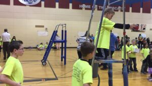 A second-grade team from Grant Elementary prepares for their egg drop