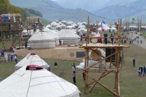 A village of yurts at the  2016 World Nomad Games