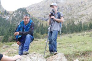 Kuban Zholdoshbek with Wenatchee High student Wil Jorgensen hiking in the Tian Shan foothills.