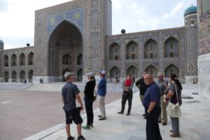 Our group tours a historic site in Samarkand
