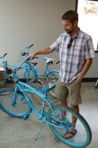 Kyle Hendrickson testing out one of the new Mela bikes