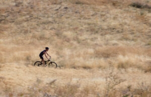 A bicyclist rides along the Lester's Trail on Thursday in the Wenatchee Foothills.