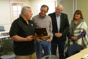 From left, Paul Ward, Chelan County Commissioner Ron Walter, Douglas County Commissioner Steve Jenkins, and